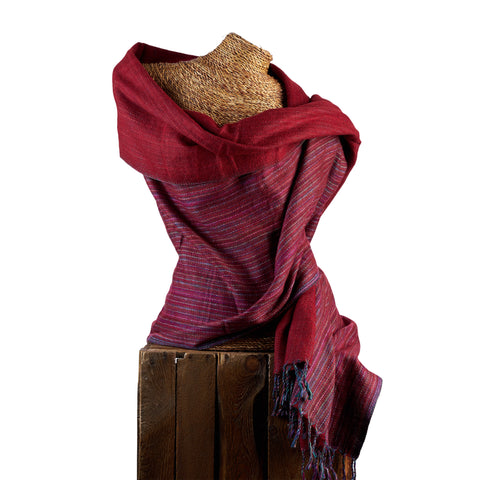 Soft Woven Bamboo Kantha Stitched Large Red Shawl - 02
