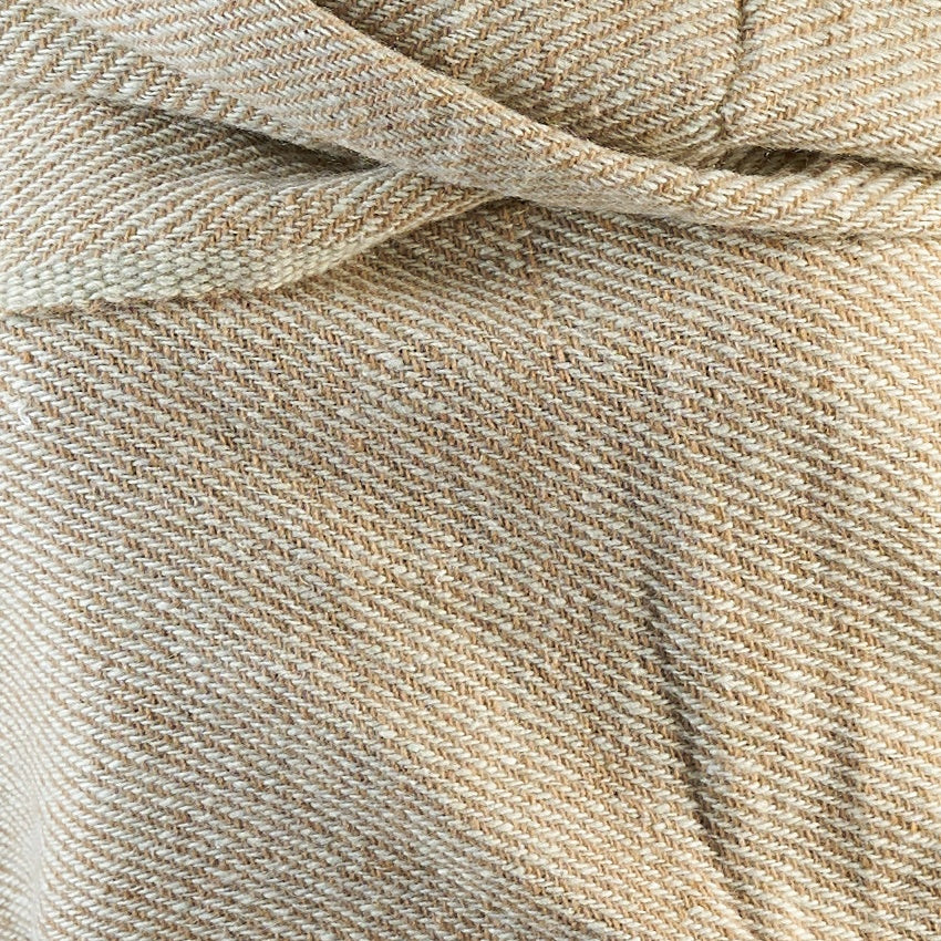 Tiny Striped Woven Bamboo Large Beige Shawl - 10
