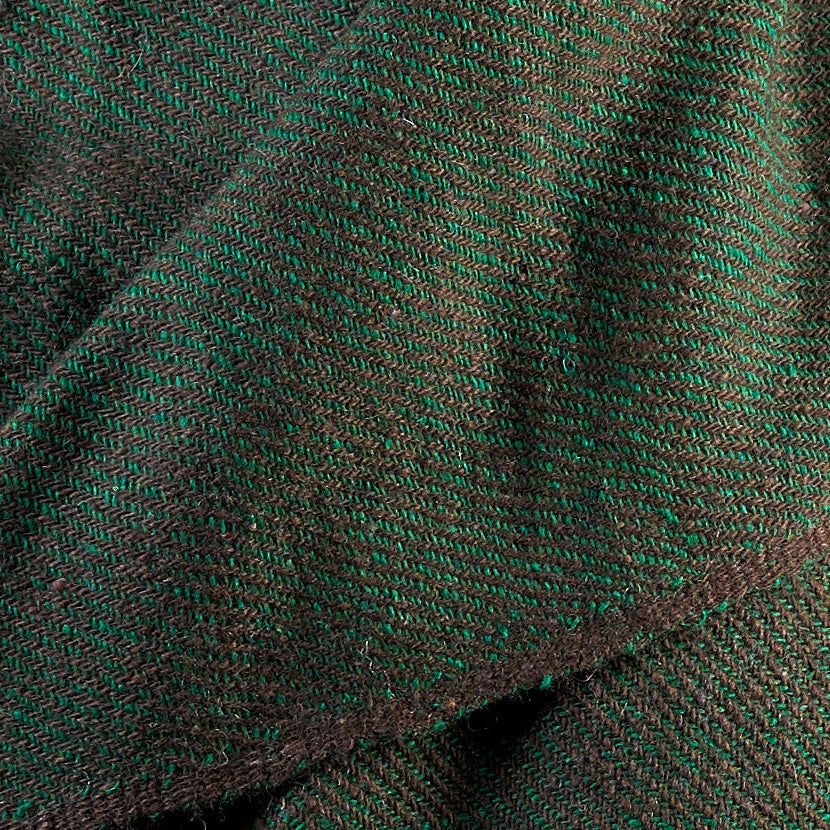 Tiny Striped Woven Bamboo Large Green Shawl - 04