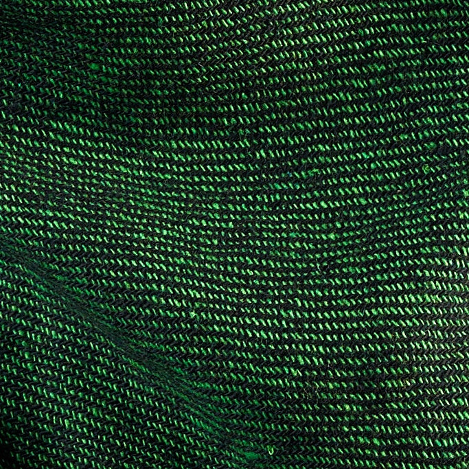 Tiny Striped Woven Bamboo Large Green Shawl - 02