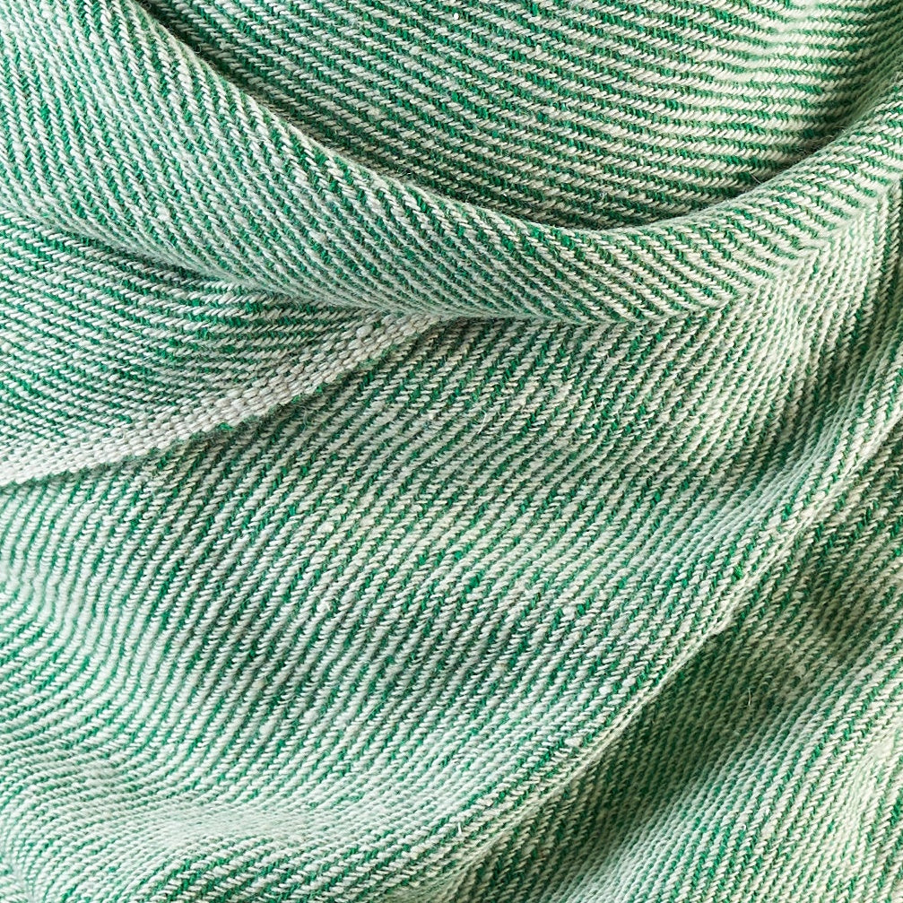 Tiny Striped Woven Bamboo Large Green Shawl - 11