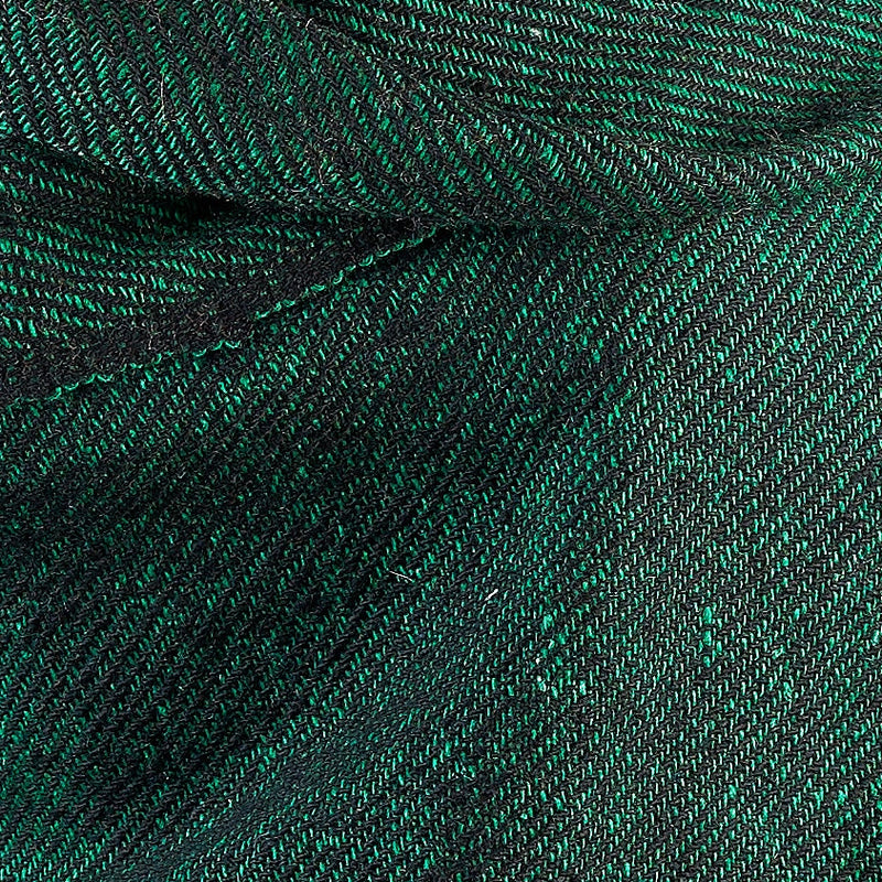 Tiny Striped Woven Bamboo Large Green Shawl - 15