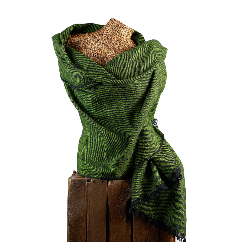 Tiny Striped Woven Bamboo Large Green Shawl - 05