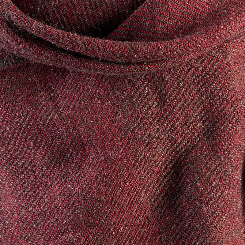 Tiny Striped Woven Bamboo Large Red Shawl - 09