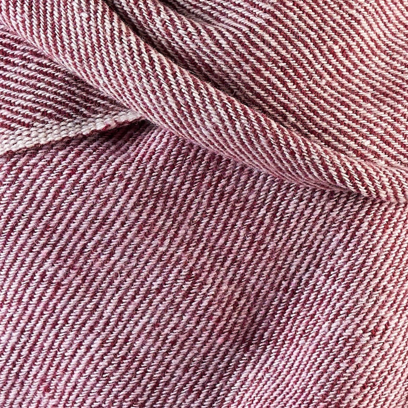 Tiny Striped Woven Bamboo Large Red Shawl - 06