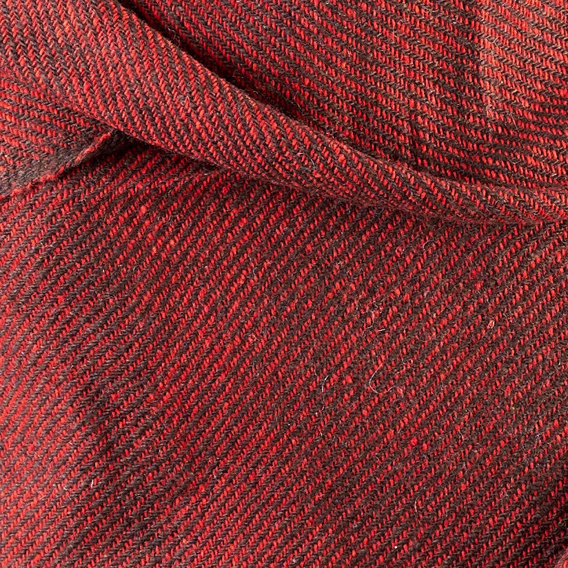 Tiny Striped Woven Bamboo Large Red Shawl - 08