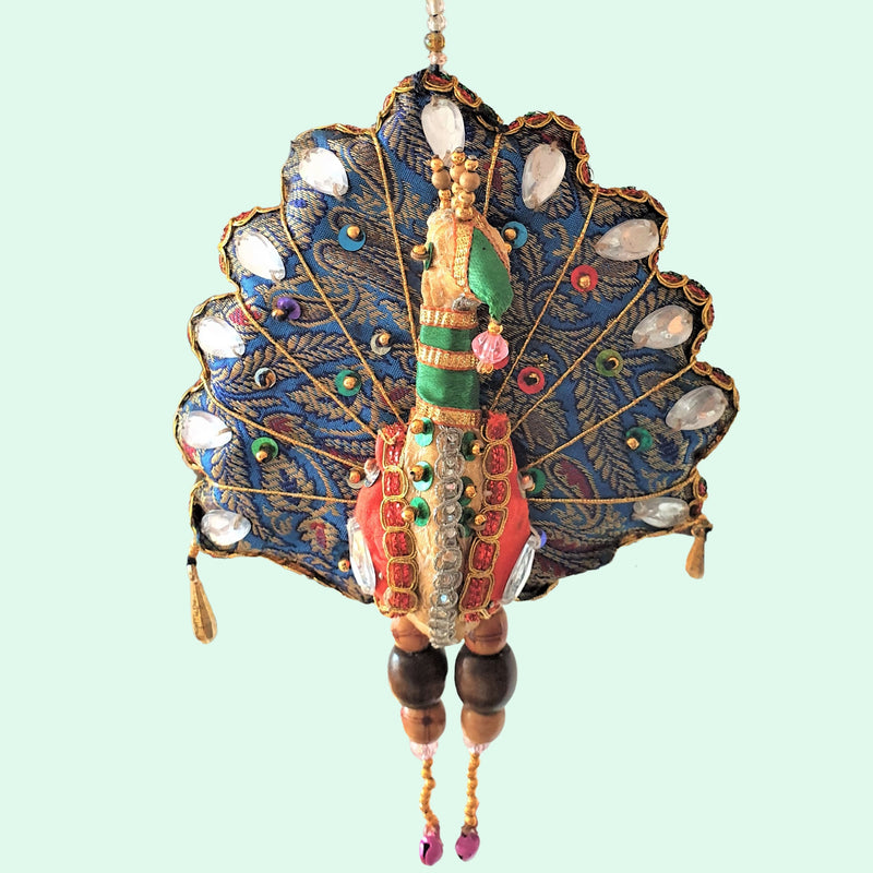 Upcycled Large Peacock Hanging Tota Decoration