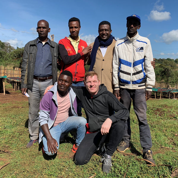 Israel Defga, Stephen Leighton & farm workers. Ana Sora, near Yirgacheffe, Guji zone, Ethiopia. Hasbean.co.uk