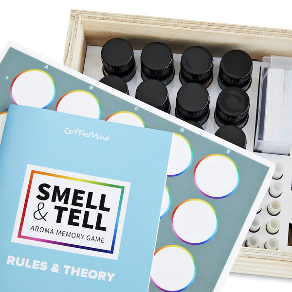 Contents of CoffeeMind Smell and Tell sensory game, memory game | Hasbean.co.uk