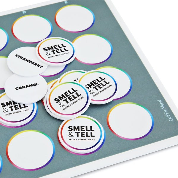 Aroma tokens from CoffeeMind Smell and Tell sensory game, memory game | Hasbean.co.uk