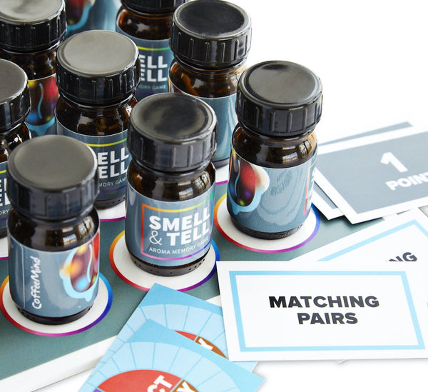 Scent bottles and playing cards from CoffeeMind Smell and Tell sensory game, memory game | Hasbean.co.uk