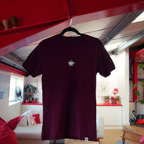 Hasbean Burgundy T-Shirt. Hasbean.co.uk