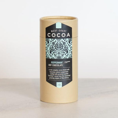 West Coast Cocoa Peppermint Hot Chocolate 250g Tube. Hasbean.co.uk