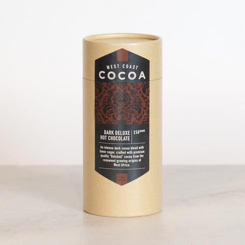 West Coast Cocoa Dark Deluxe Hot Chocolate 250g Tube. Hasbean.co.uk