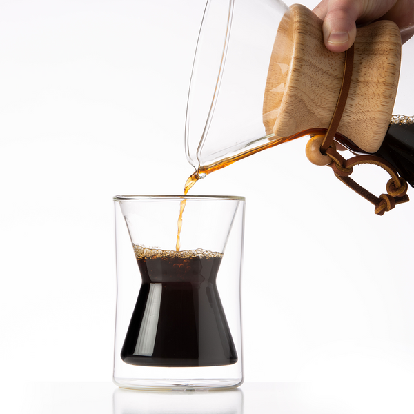 Pouring coffee into a Chemex double walled borosilicate glass coffee mug | Hasbean.co.uk