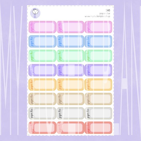 Paper Due Stickers | S#3