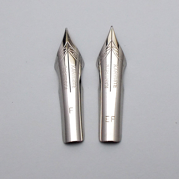 Set of 2 Kanwrite No.6 35mm One Fine (F) & One Ex.Fine (EF) Ultra Flex Fountain Pen Nibs - SSF