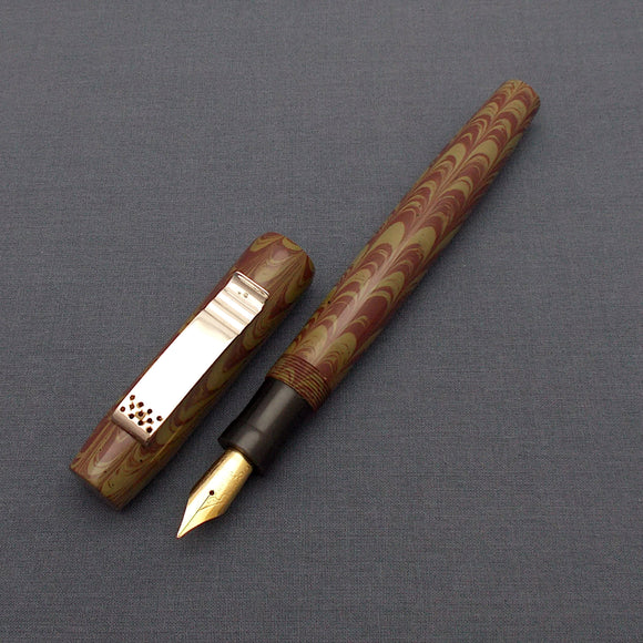 KIM ACR Regular THD Handmade Ebonite Fountain Pen - Moss Green/Mahogany Rippled