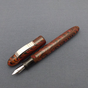 KIM ACR Jumbo Cigar Handmade Ebonite Fountain Pen with Kanwrite Nib - Burnt Orange/Burgundy/Black