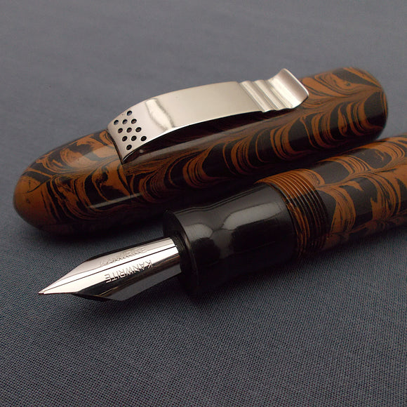 KIM ACR Jumbo Cigar Handmade Ebonite Fountain Pen with Kanwrite Semi Flex Nib - Burnt Orange/Black Mottled