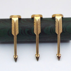 Set of 3 Vintage Brass Fountain Pen Clips - Classic Arrow , Gold Plated