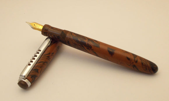 Madras Ebonite Handmade Fountain Pen - Regular/Medium- Brown and Black Mottled