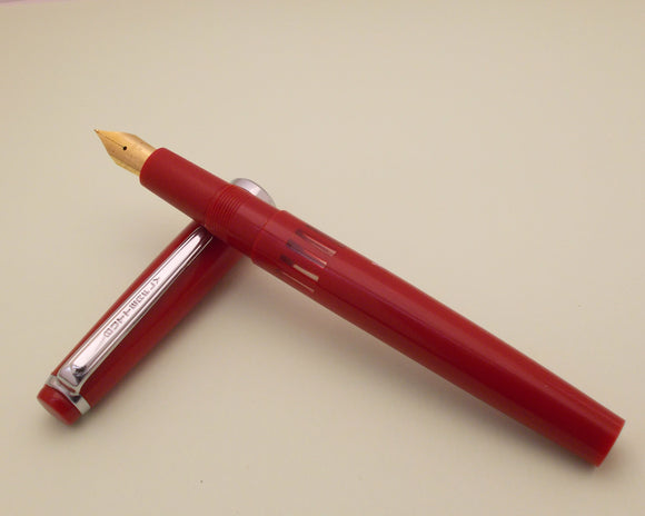 Vintage Butterfly Indian Eye Dropper Fountain Pen (NOS) - Red