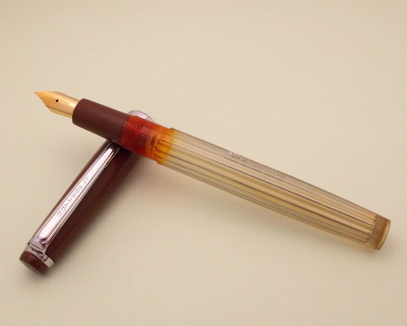 Vintage Butterfly Indian Eye Dropper Fountain Pen (NOS) - Brown Demonstrator