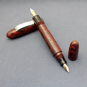 KIM ACR Handmade Ebonite Fountain Pen - Jumbo Cigar Double - Rose Red and Black Rippled