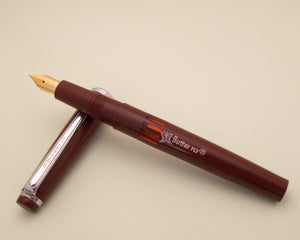 Vintage Butterfly Indian Eye Dropper Fountain Pen (NOS) - Brown