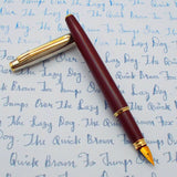 V'Sign Stride Maroon Fountain Pen with Vintage Semi-Flex Nib (Navy Pen Co. Japan)