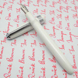 Click Falcon Eyedropper Fountain Pen with Cursive Italic (CI) Nib - Solid White