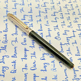 V'Sign Stride Black Fountain Pen (with Vintage Semi-Flex Nib Navy Pen Co. Japan)