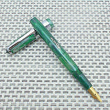 Airmail/Wality 58C Eyedropper Fountain Pen - Green Marbled