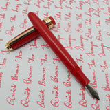 Click Falcon Gold Eyedropper Fountain Pen with Cursive Italic (CI) Nib Solid Red