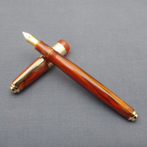 Click 71 Jumbo G Fountain Pen with 3-in-1 Filling System- Vermilion/Gold marbled