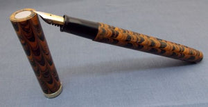 Click Clipless Ebonite Handmade Fountain Pen - Brown and Black Rippled