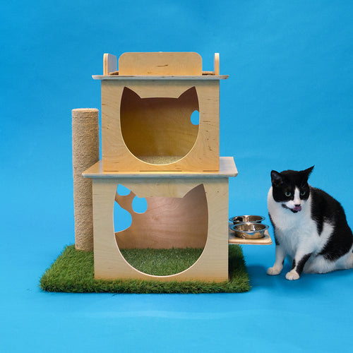Indoor Two-Story Wooden Cat Loft with Scratching Post & Feeder Station