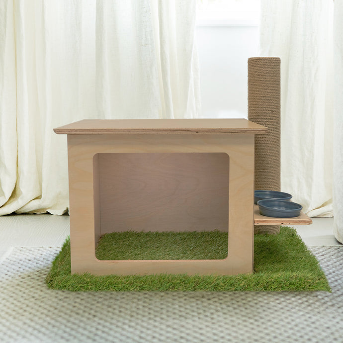 Indoor Wooden Cat House with Scratching Post & Feeder Station