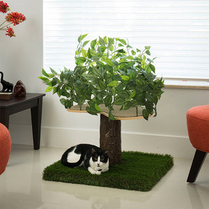 2ft Interchangeable Leaves Cat Tree Square Base, Zen Green