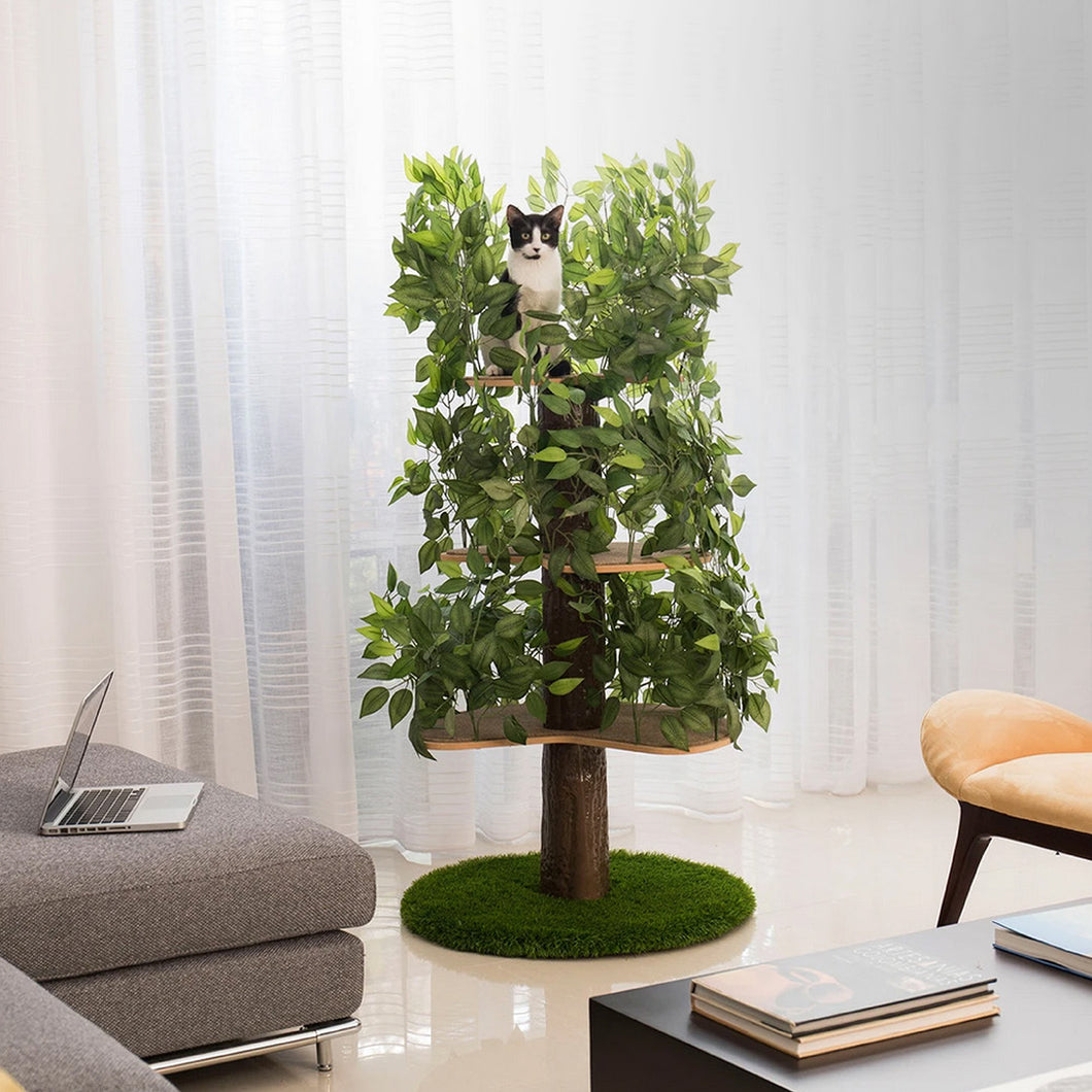5ft Interchangeable Leaves Cat Tree Round Base, Zen Green