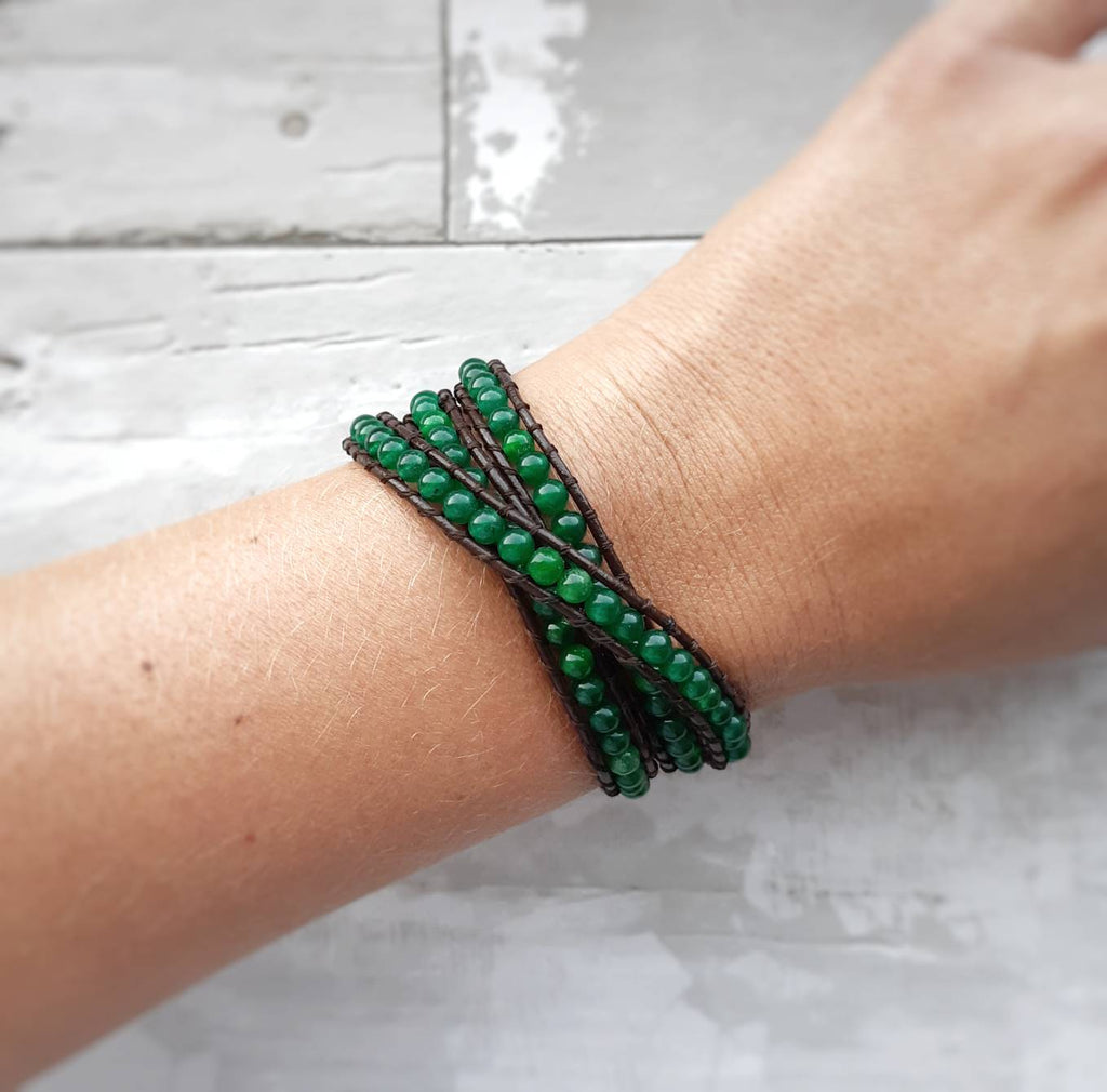 Jade and Leather Tripple Wrap Bracelet