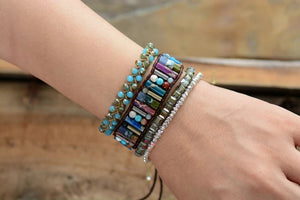 Mixed Gemstone Boho Tube Bracelet