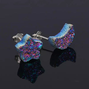 Moon and Star Druzy Silver Earrings- Titanium