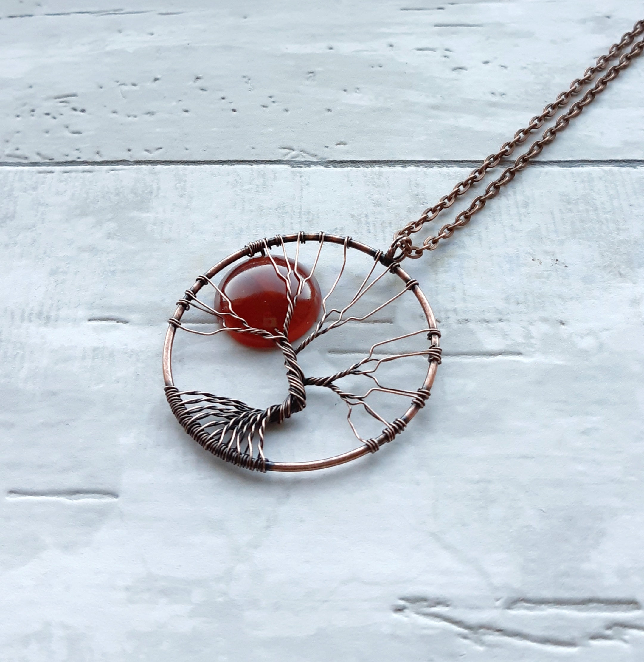 Carnelian Red Moon Tree of Life Necklace