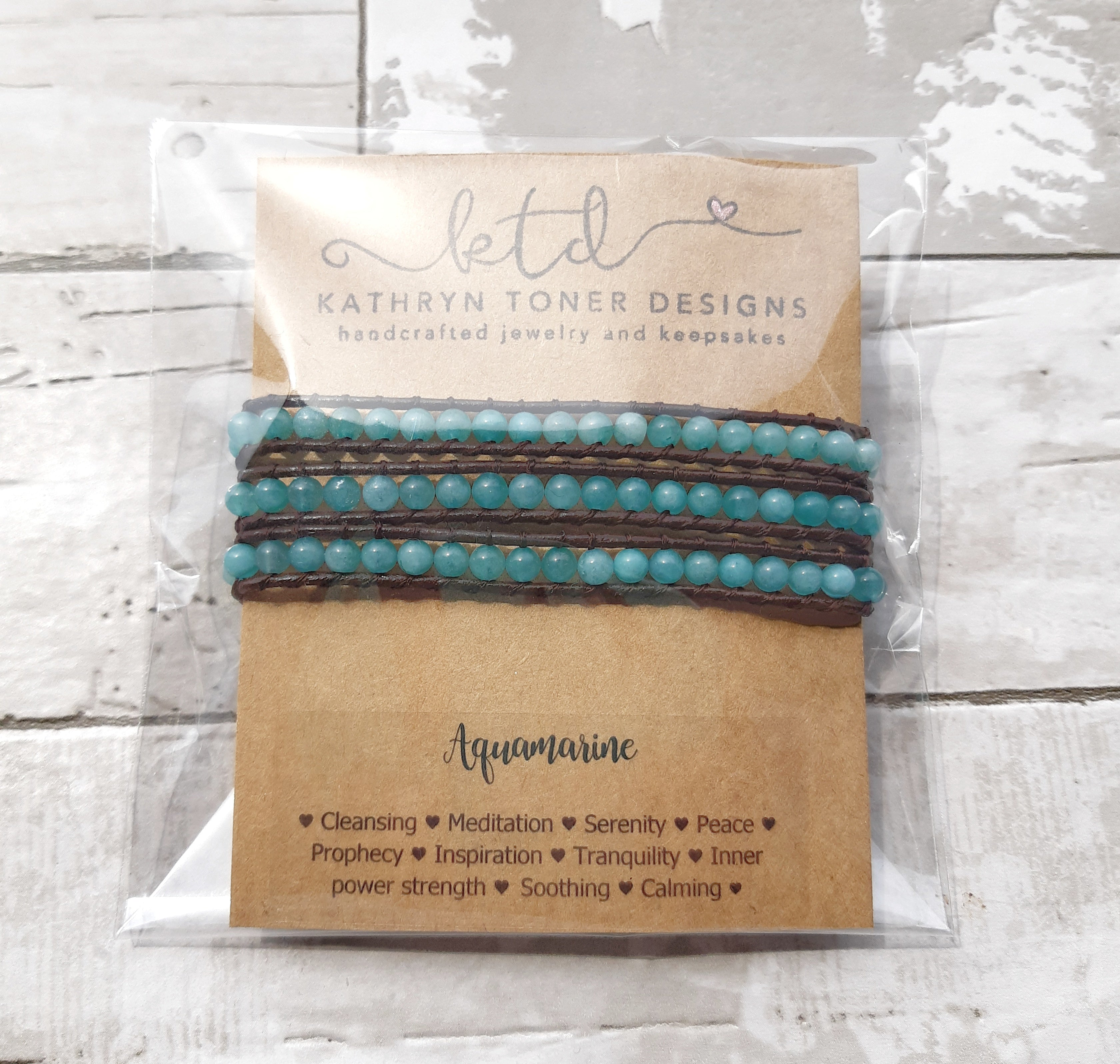 Aquamarine and Leather Tripple Wrap Bracelet