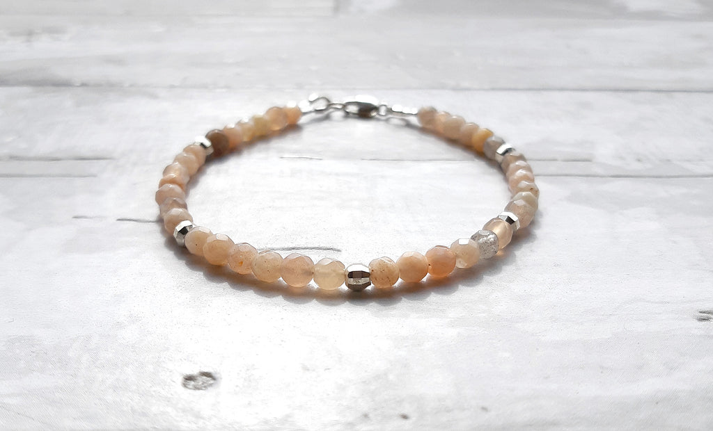 Minimalist Sunstone and Sterling Silver Bracelet