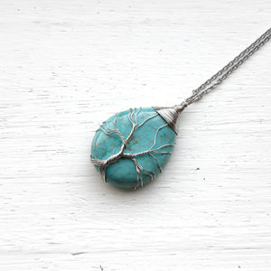 Turquoise Tear Drop Tree of Life Pendant