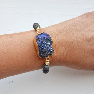 Natural Druzy and Peacock Lava Bracelet