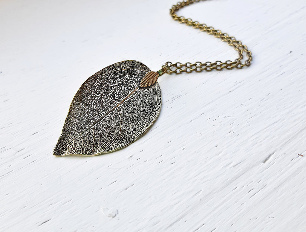 Natural Bronze Leaf Necklace